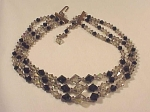 VINTAGE 3 STRAND BLACK FACETED GLASS AND SMOKE CRYSTAL NECKLACE
