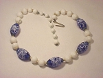 VINTAGE COSTUME JEWELRY - JAPAN COBALT BLUE AND WHITE ART GLASS BEAD NECKLACE