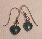 STERLING SILVER & MALACHITE HEART PIERCED EARRINGS