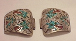 NATIVE AMERICAN STERLING SILVER WITH INLAID TURQUOISE & CORAL WATCH TIPS SIGNED SDC