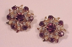 Click to view larger image of VINTAGE COSTUME JEWELRY - 2 SMALL AMETHYST RHINESTONE & SEED PEARL BROOCHES OR SCATTER PINS (Image1)