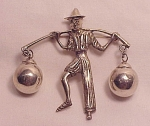 VINTAGE MEXICAN STERLING SILVER PEASANT MAN BROOCH SIGNED SILVER MEXICO - POSSIBLE FRED DAVIS