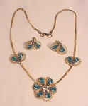 Click here to enlarge image and see more about item 06J2471: VINTAGE COSTUME JEWELRY - SYMPHONY BLUE RHINESTONE NECKLACE & SCREWBACK EARRINGS SET