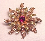 VINTAGE COSTUME JEWELRY -  VAN DELL 12K GOLD FILLED RED RHINESTONE BROOCH