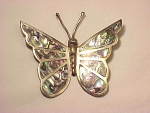 VINTAGE MEXICAN STERLING SILVER AND ABALONE LARGE BUTTERFLY BROOCH