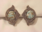 VINTAGE COSTUME JEWELRY - SARAH COVENTRY TURQUOISE LUCITE CLIP EARRINGS