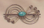 POSSIBLE NATIVE AMERICAN STERLING SILVER & TURQUOISE BROOCH
