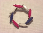 VINTAGE COSTUME JEWELRY - RED, WHITE & BLUE NAVETTE RHINESTONE CIRCLE BROOCH