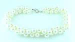 VINTAGE COSTUME JEWELRY - THICK, TWISTED LARGE PEARL CHOKER NECKLACE