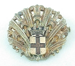 VINTAGE COSTUME JEWELRY - POSSIBLE STERLING SILVER  BROOCH WITH ENAMEL MARSEILLES SHIELD