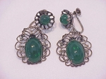 VINTAGE COSTUME JEWELRY - AUSTRIA GREEN GLASS FILIGREE SCREWBACK EARRINGS