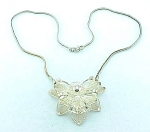 Click to view larger image of VINTAGE POSSIBLE STERLING SILVER FILIGREE FLOWER NECKLACE (Image1)