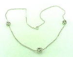 vintage COSTUME JEWELRY - SILVER TONE NECKLACE WITH 3 RHINESTONE RONDELLE BEADS