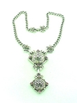 VINTAGE COSTUME JEWELRY - UNIQUE SILVER TONE NECKLACE WITH PINK RHINESTONES