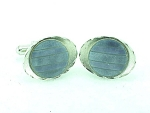 VINTAGE STERLING SILVER AND GUILLOCHE ENAMEL CUFFLINKS SIGNED JML