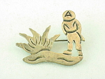 VINTAGE TAXCO MEXICAN STERLING SILVER PEASANT AND CACTUS BROOCH SIGNED J ALVAREZ