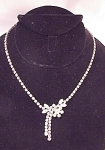 VINTAGE UNIQUE CLEAR RHINESTONE NECKLACE WITH  CENTER DROP