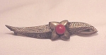 Click here to enlarge image and see more about item 07J2579: VINTAGE SCANDINAVIAN DENMARK 830 STERLING SILVER & RED CORAL STONE BROOCH SIGNED V