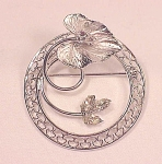 VINTAGE COSTUME JEWELRY - CARL-ART STERLING SILVER & RHINESTONE BROOCH OR PENDANT