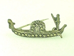 COSTUME JEWELRY - VINTAGE STERLING SILVER & MARCASITE GONDOLIER BROOCH