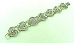 VINTAGE COSTUME JEWELRY - POSSIBLE STERLING SILVER FILIGREE HEART BRACELET