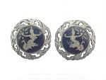 VINTAGE COSTUME JEWELRY - SIAM STERLING SILVER NIELLO SCREWBACK EARRINGS