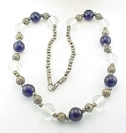 VINTAGE SILVER, COBALT BLUE AND CLEAR GLASS BEAD NECKLACE