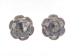VINTAGE COSTUME JEWELRY - STERLING SILVER & SMOKE RHINESTONE SCREWBACK EARRINGS SIGNED SILVER MEXICO