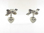COSTUME JEWELRY - POSSIBLE STERLING SILVER DANGLING PUFFY HEART AND BOW PIERCED EARRINGS
