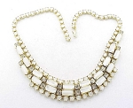 VINTAGE COSTUME JEWELRY - WHITE GLASS MOONSTONE & RHINESTONE CHOKER NECKLACE