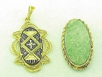 VINTAGE COSTUME JEWELRY - 2 PENDANTS - DAMASCENE WITH FILIGREE, 12K GF JADE SIGNED PPC