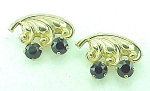 VINTAGE COSTUME JEWELRY - PAIR OF GOLD TONE & DARK RED RHINESTONE SCATTER PINS