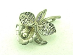 VINTAGE COSTUME JEWELRY - STERLING SILVER FILIGREE ORCHID FLOWER BROOCH