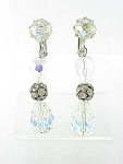 VINTAGE COSTUME JEWELRY - LONG DANGLING AURORA BOREALIS CRYSTAL & RHINESTONE CLIP EARRINGS