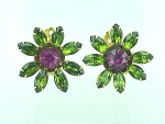 VINTAGE COSTUME JEWELRY - LARGE FLOWER SHAPED GREEN & PINK RHINESTONE CLIP EARRINGS