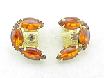 VINTAGE COSTUME JEWELRY - GOLD TONE AMBER GLASS RHINESTONE CLIP EARRINGS