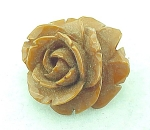 VINTAGE COSTUME JEWELRY - DEEPLY CARVED BUTTERSCOTCH BAKELITE ROSE FLOWER BROOCH