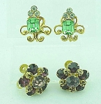 VINTAGE COSTUME JEWELRY - 2 PAIRS OF RHINESTONE SCREWBACK EARRINGS - 1 GREEN, 1 AMETHYST