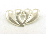 COSTUME JEWELRY - STERLING SILVER DOUBLE HEART BROOCH