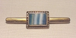 VINTAGE COSTUME JEWELRY - VICTORIAN OR EDWARDIAN BLUE MARBLED GLASS C CLASP BROOCH