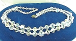 VINTAGE COSTUME JEWELRY - DOUBLE STRAND AURORA BOREALIS CRYSTAL NECKLACE WITH STERLING SILVER CLASP