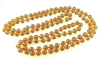 VINTAGE COSTUME JEWELRY - FLAPPER LENGTH AMBER GLASS BEAD NECKLACE