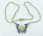 VINTAGE COSTUME JEWELRY - STERLING SILVER & ENAMEL BUTTERFLY NECKLACE SIGNED AR ITALY