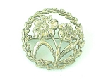 Click to view larger image of VINTAGE COSTUME JEWELRY - ART NOUVEAU STERLING SILVER FLOWER C CLASP BROOCH (Image1)