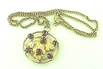 VINTAGE COSTUME JEWELRY - AMETHYST RHINESTONE GOLD TONE PENDANT NECKLACE