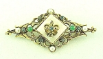 VINTAGE COSTUME JEWELRY - ART ANTIQUED GOLD RHINESTONE & SEED PEARL BROOCH