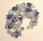 VINTAGE COSTUME JEWELRY - LIGHT & DARK BLUE THERMOSET & RHINESTONE BROOCH