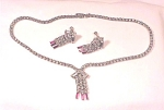 VINTAGE COSTUME JEWELRY - RED & CLEAR RHINESTONE NECKLACE  & SCREWBACK EARRINGS SET