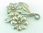 VINTAGE COSTUME JEWELRY - MEXICAN STERLING SILVER FLOWER BROOCH SIGNED PRIETO