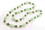 VINTAGE  JEWELRY - JADE, ADVENTURINE & MOTHER OF PEARL BEAD NECKLACE